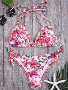 Juego De Bikini Lateral Acolchado De Lazo Floral - Floral S
