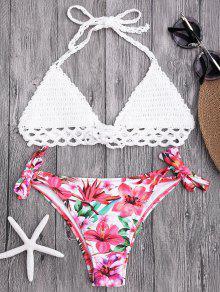 Bralette Top De Ganchillo Y Pantalones De Bikini Atados Florales - Blanco L