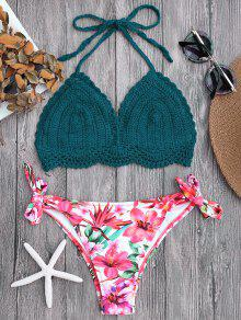 Tied Bralette Floral Crochet Bikini Set - Blackish Green S