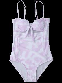 maillot de bain avec n ud d coupes motif color violet clair une pi ce s zaful. Black Bedroom Furniture Sets. Home Design Ideas