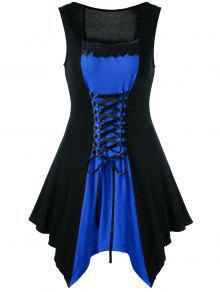 الدانتيل متابعة كتلة اللون بلا أكمام ثوب غير متناظرة - أزرق 2xl