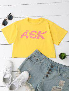 Loose Letter Cropped T-Shirt - Yellow S