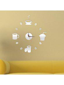 ديكور المنزل كأس نمط دي ساعة الحائط - فضة
