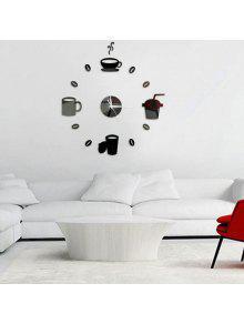 ديكور المنزل كأس نمط دي ساعة الحائط - أسود
