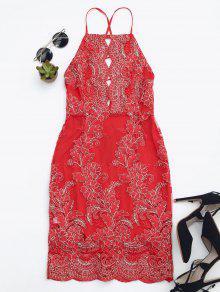 Vestido Justo Frente única Bordado  - Vermelho S