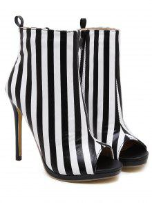 Zipper Striped Peep Toe Ankle Boots - Black Stripe 39