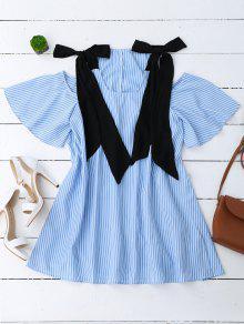 Bowknot Straps Cold Shoulder Mini Dress - Stripe M