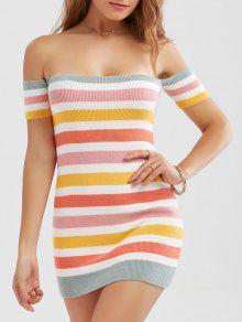 قبالة الكتف الملونة مخطط محبوك اللباس مصغرة - S