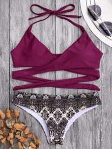 Padded Retro Print Wrap Bikini - Burgundy M