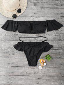 Bikinis épaules Dénudés à Volants En Tulle  - Noir S