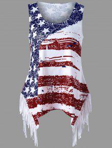 هامش العلم الأمريكي طباعة دبابات الأعلى - الدم الأحمر 2xl