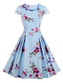 Vestido Plisado Estampado Flores Cuello De Corazón - Azul 2xl