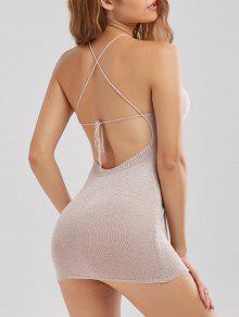 Mini Vestido Fino Sin Espalda Cruzado Costura  - Rosado Claro