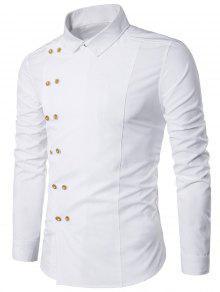 Camiseta Doble Pecho Manga Larga Con Cuello Hacia Abajo - Blanco Xl