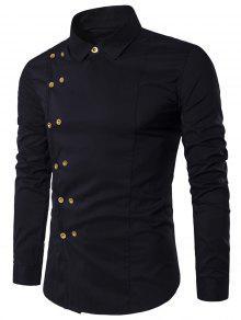 طوق طوق مزدوجة الصدر قميص طويل الأكمام - أسود Xl