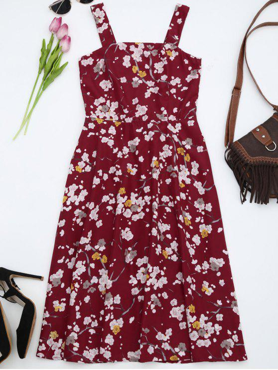 Fit and Flare Floral Flowy Sundress - Rouge 2XL