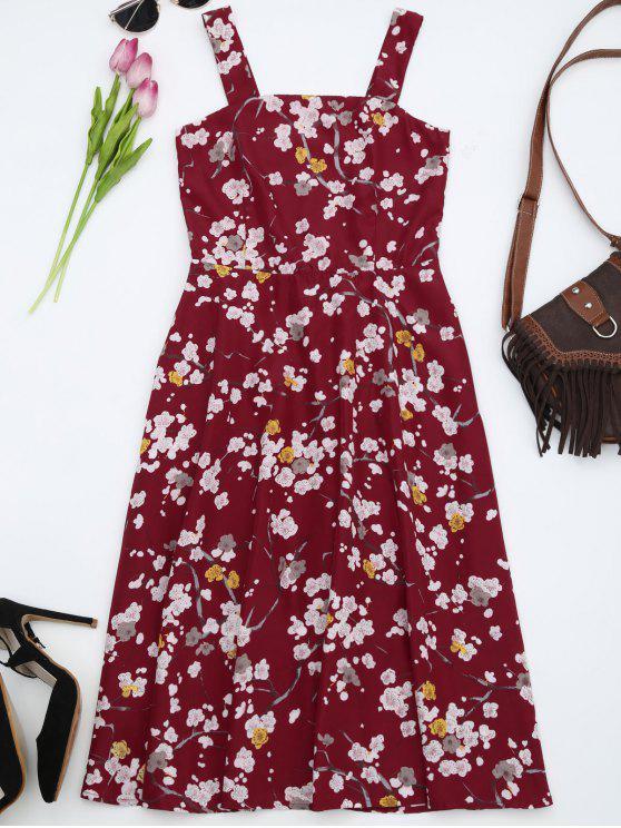 Ajustar y llamarada floral Flowy Sundress - Rojo 2XL