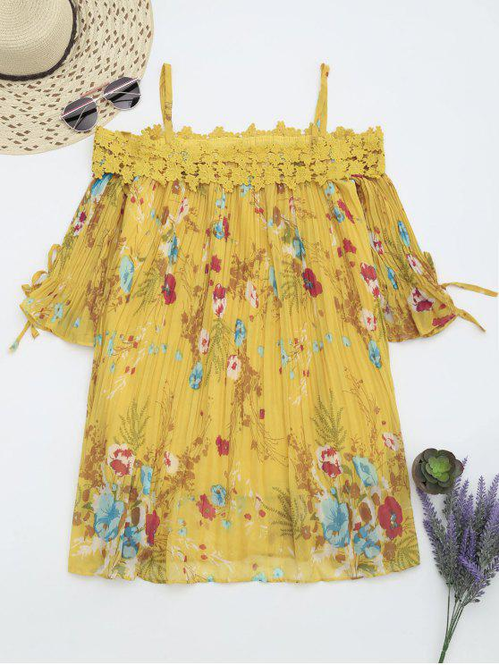 fancy Floral Cami Pleated Dress With Crocheted Lace - YELLOW L