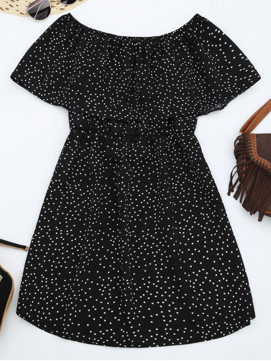 affordable Off Shoulder Ruffle Polka Dot Dress - BLACK L