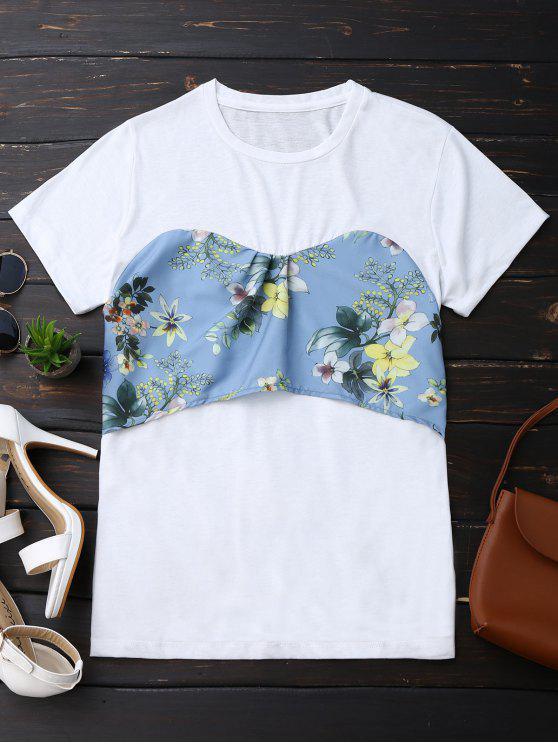Camiseta floral de la parte posterior del Bowknot - Blanco S