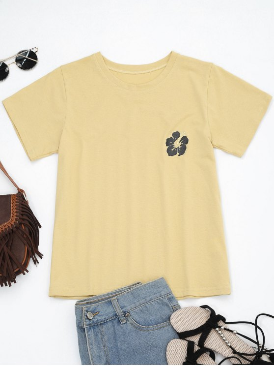 outfit Cotton Floral Embroidered T-Shirt - YELLOW ONE SIZE