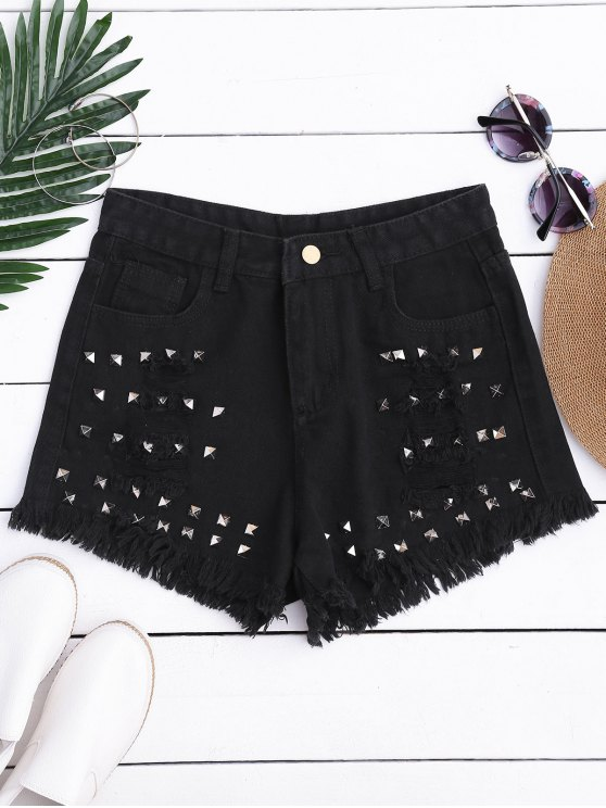 Ripped Cutoffs Rivet Denim Shorts - Negro S