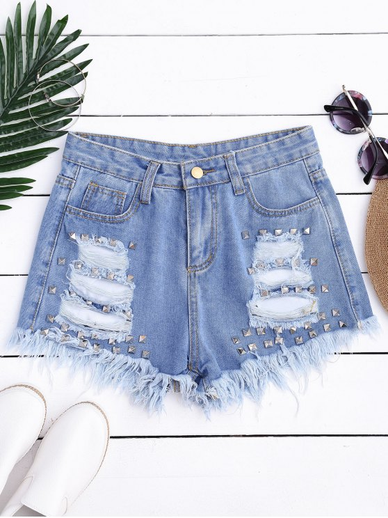 fashion Ripped Cutoffs Rivet Denim Shorts - DENIM BLUE L