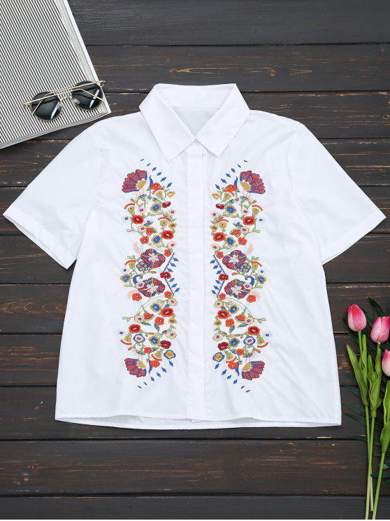 Short Sleeve Floral Embroidered Shirt - White S