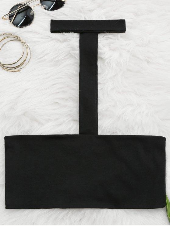 توب حزام السباغيتي بقلادة أنبوب - أسود S