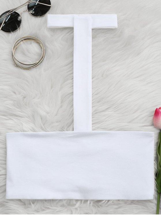 توب حزام السباغيتي بقلادة أنبوب - أبيض L