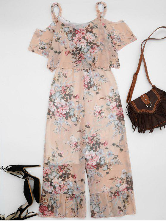 sale Ruffle Cold Shoulder Floral Palazzo Jumpsuit - LIGHT APRICOT PINK L