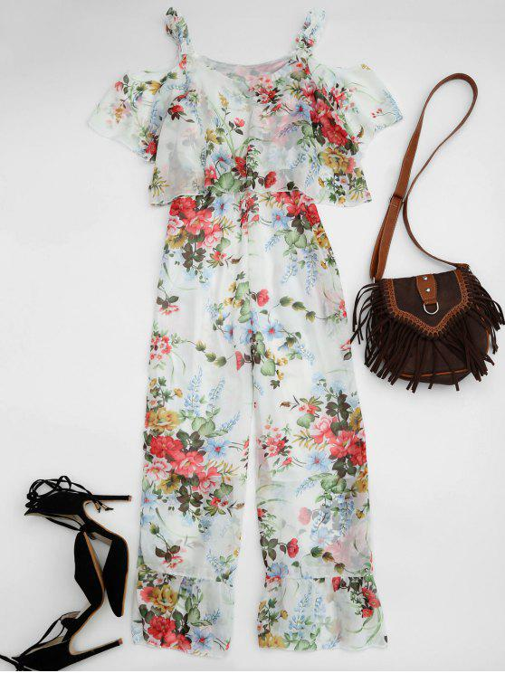 buy Ruffle Cold Shoulder Floral Palazzo Jumpsuit - WHITE M