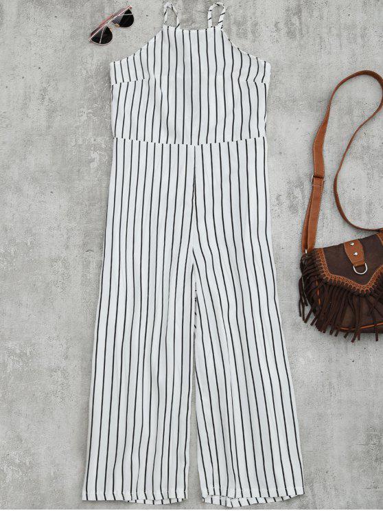 women's Striped Open Back Wide Leg Jumpsuit - WHITE L