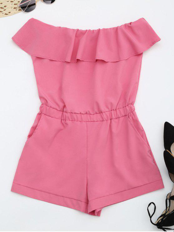Strapless Ruffle Romper With Pockets - Sangria XL