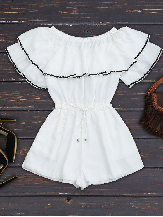 Tissu à manches longues à épaulettes avec recouvrement de volants - Blanc M