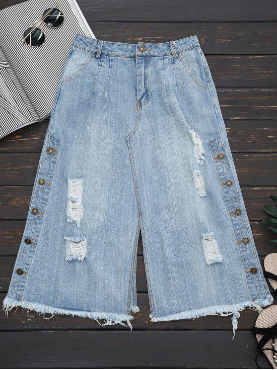 Bouton déchiré Up Wide Leg Capri Jeans - Denim Bleu L