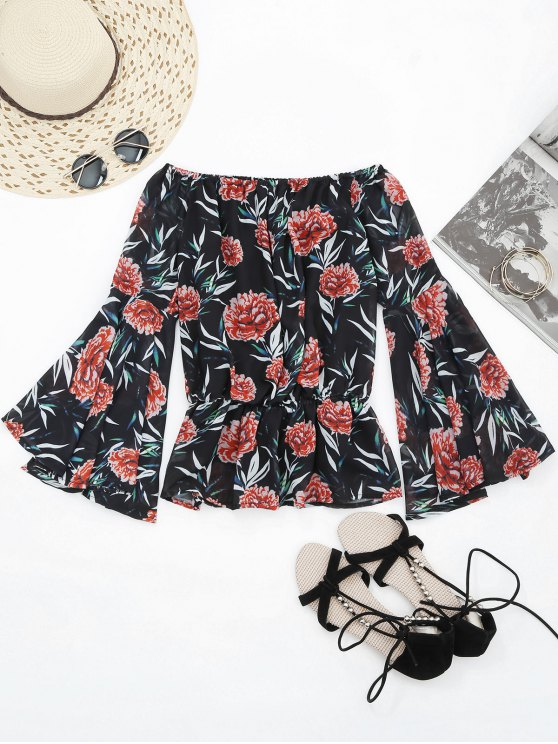 outfit Flare Sleeve Floral Off Shoulder Chiffon Blouse - FLORAL M