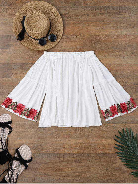 lady Off Shoulder Floral Applique Cover Up Top - WHITE M