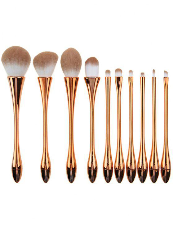 shops 10Pcs Plated Waisted Water Drop Makeup Brushes Set - ROSE GOLD