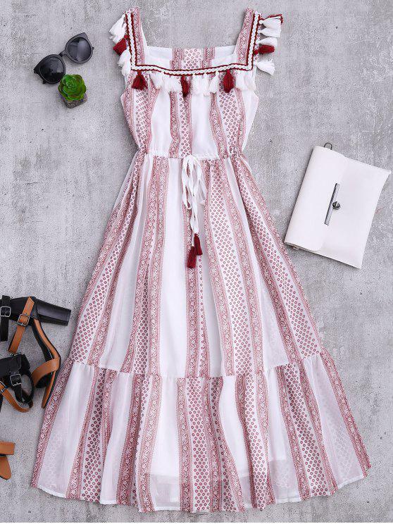 fashion Drawstring Printed Tassels Midi Tank Dress - WHITE M