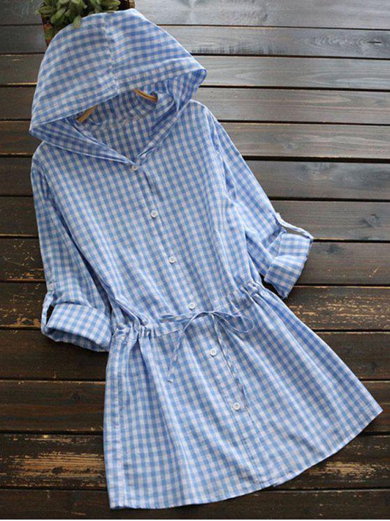 trendy Longline Drawstring Checked Shirt with Hood - PLAID L