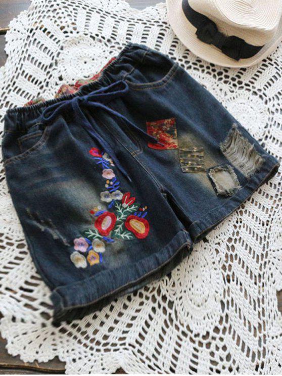 Pantalones cortos bordados bordados del dril de algodón del diseño del remiendo - Marina de Guerra L
