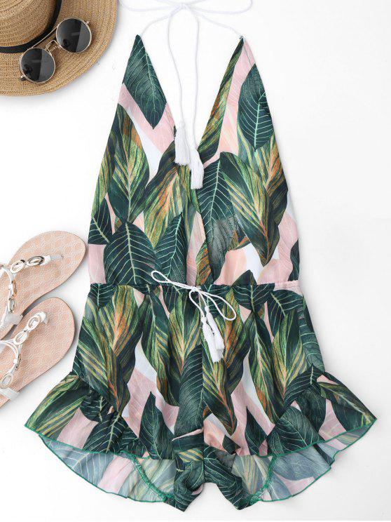 women Drawstring Backless Leaf Print Beach Romper - FLORAL M