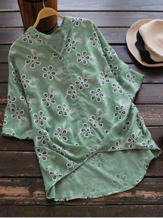Blusa de lino bordada suelta de alta alta - Verde Claro Única Talla