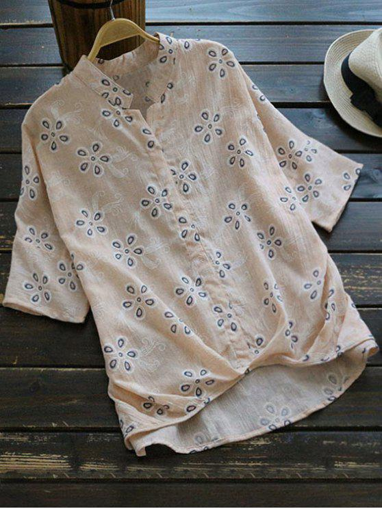 womens Loose Embroidered Linen High Low Blouse - PINKBEIGE ONE SIZE