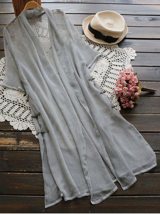 hot Longline Side Slit Frog Buttons Duster Coat - GRAY ONE SIZE