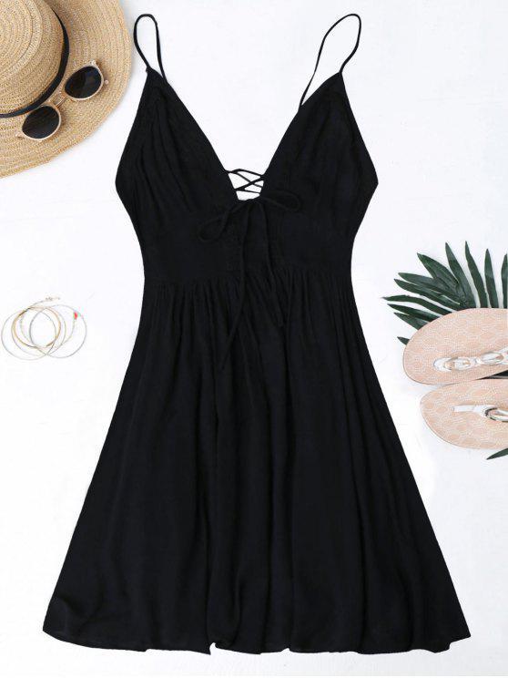 women Plunge Low Back Lace Up Sundress - BLACK S