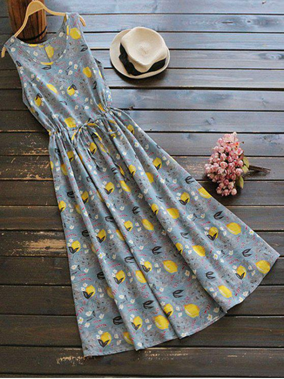 buy Sleeveless Drawstring Lemon Print Maxi Dress - COLORMIX ONE SIZE