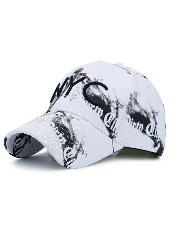 Smoke Filled Print Nyc Embroidery Baseball Hat White Hats Zaful