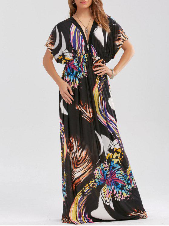 الإمبراطورية الخصر الفراشة طباعة فستان ماكسي - أسود L
